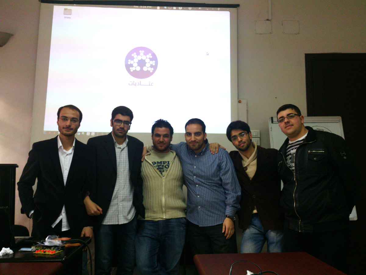من اليمين: محمد علاء بغدادي - أنس أبو هايلة - يحيى طويل - علي الحموي - مازن حساني - سراج محمد.