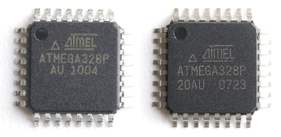 Fig. 15 - Original Atmega328 on The Left and The Fake One on The Right. Image Courtesy of Sparkfun