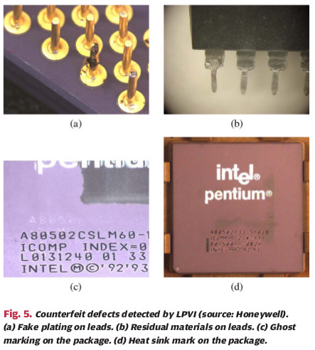 Fig. 7 - Four Examples of Remarked and Recycled Chips [6]