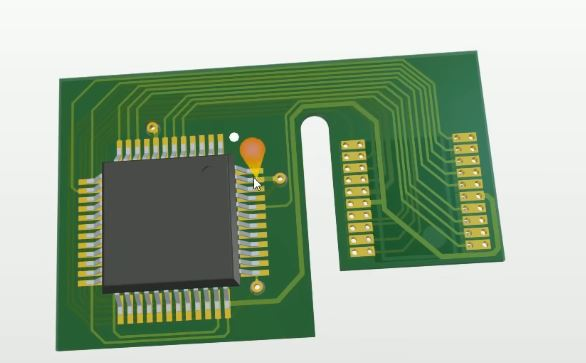 Image courtesy of EEVblog #1262. The flex PCB design in 3D.