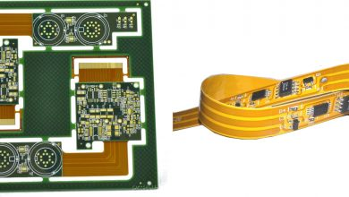 Image Courtesy to PCBWay. On the right, an assembled flex board. On the left, a panel of rigid-flex board