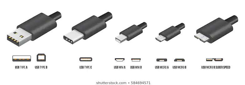 Different USB connectors shapes
