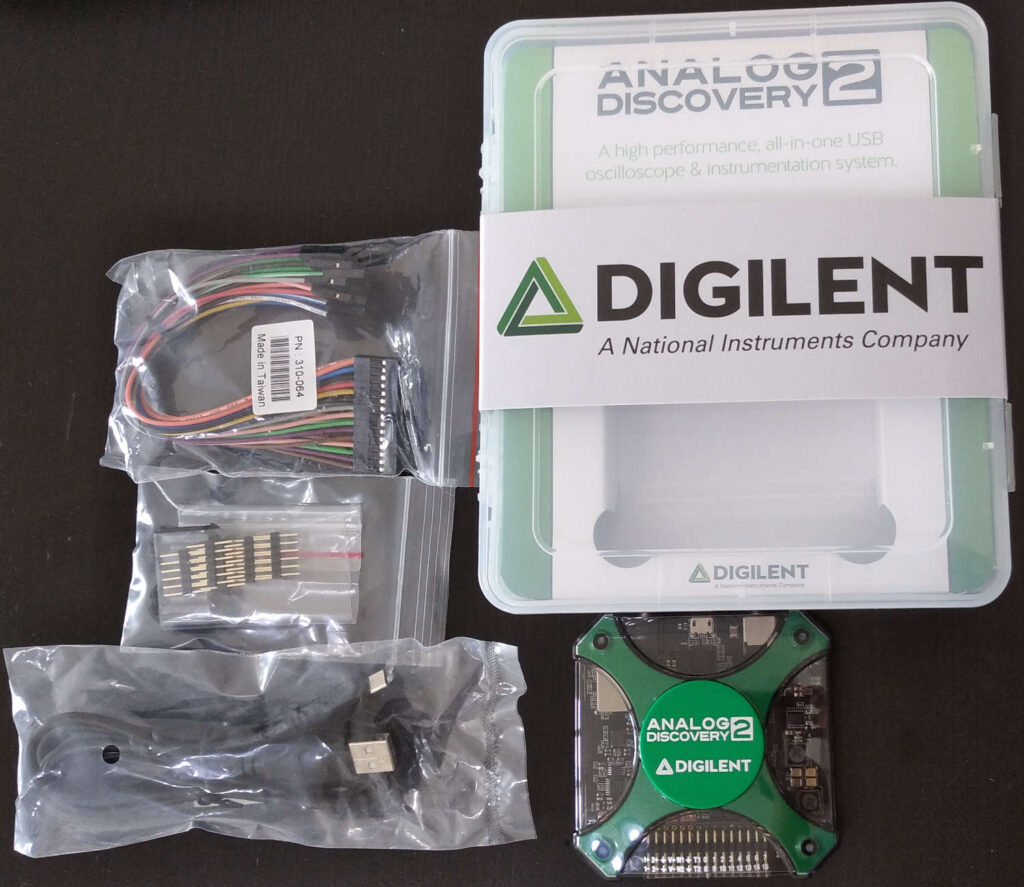 Analog Discovery 2  Box and the Included Accessories