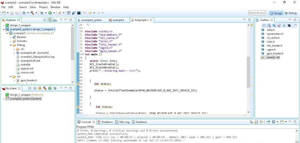 Inside Vitis IDE after Importing the Project from Vivado