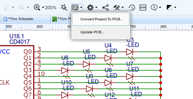EasyEDA convert schematic to PCB