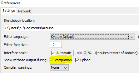 arduino preferences compilation