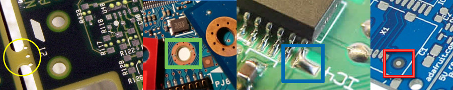 Stamp holes,Solder thief pad,Types of holes and Fiducial marks