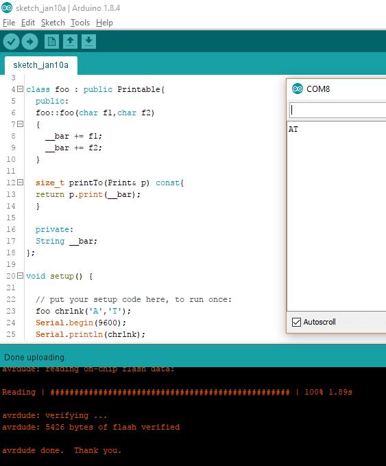 Printable class Arduino example